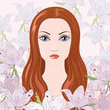 Model. Beautiful model on the tender floral background royalty free illustration
