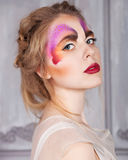 Model beautiful woman with perfect butterfly make up and hairsty Royalty Free Stock Photo
