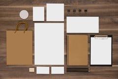 Model bedrijfsmalplaatje met het winkelen zak en Royalty-vrije Stock Afbeeldingen