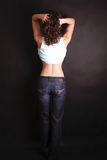 Model from behind. Back view of a young woman / model stock images