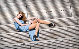 Model on the bench Royalty Free Stock Image