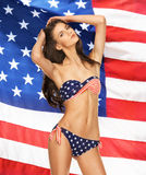 Model in bikini with american flag Stock Image