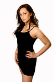 Model in black dress. Beautiful Italian model in black dress,  isolated on white Royalty Free Stock Image