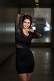 Model In Black Dress With Chiffon Long Sleeve Royalty Free Stock Photography