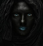 Model with black face. Royalty Free Stock Photos