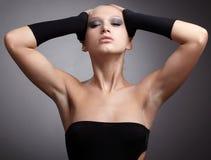 Model in black gloves Stock Photos