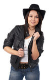 Model with black leather coat and a cowboy hat Stock Photos