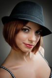Model in black trilby style hat Stock Photos