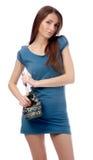 Model in blue dress Stock Image