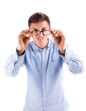 Model in blue shirt hold glasses Royalty Free Stock Photos