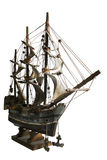 Model Boat. Old model of a sail boat in a white background stock photo