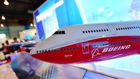 Model of Boeing 747-8 flagship jumbo jet on display at Singapore Airshow Stock Photo