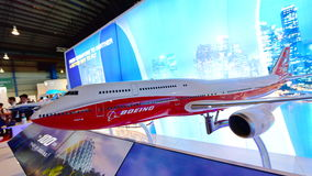 Model of Boeing 747-8 flagship jumbo jet on display at Singapore Airshow Royalty Free Stock Images