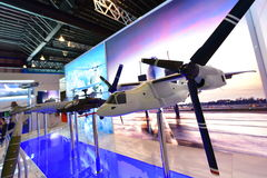 Model of Boeing V-22 Osprey tilt-rotor military aircraft at Singapore Airshow Stock Photography