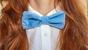 Model with bow-tie blue 1 Stock Photography