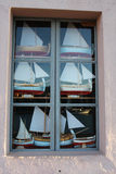 Model of the Bracera sailing ships in window. Royalty Free Stock Photography