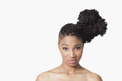 Model with braids smiling Royalty Free Stock Images