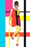 Model In Bright Retro Colors. Colorful concept in sixties retro fashion style with Caucasian model posing full body over designed background with colorful bright Stock Images