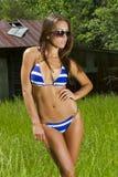 model brunett utomhus Royaltyfri Fotografi