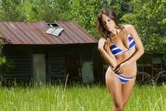 model brunett utomhus Royaltyfri Bild