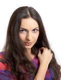 Model brunette longhair girl isolated Royalty Free Stock Photos
