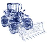 Model bulldozer. 3d model bulldozer on a white background Royalty Free Stock Photo