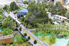 Model of bullet train station. Model of high-speed train passing through residential areas, amoy city, china. now speed of emu train in amoy is 200 km per hour Stock Photos