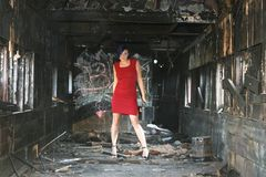 Model in a burnt rail car Stock Image