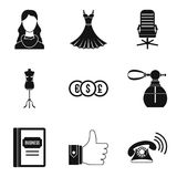 Model business icons set, simple style. Model business icons set. Simple set of 9 model business vector icons for web isolated on white background Royalty Free Stock Photos