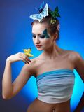 Model with butterfly bodyart Stock Photography