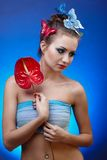 Model with butterfly bodyart Royalty Free Stock Images