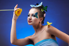 Model with butterfly bodyart Stock Photo