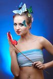 Model with butterfly bodyart Royalty Free Stock Image