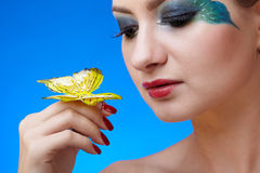 Model with butterfly bodyart Stock Images
