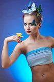 Model with butterfly bodyart Stock Photos