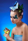 Model with butterfly bodyart Royalty Free Stock Photos