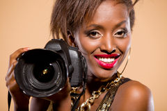 Model with Camera Royalty Free Stock Images