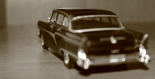 Model car Chaika. Macrophoto of black car model Chaika stock image