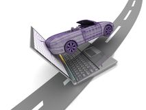 Model car and laptop Royalty Free Stock Photo