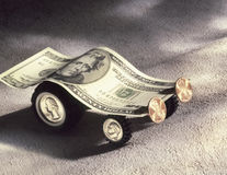 Model car made of US currency Royalty Free Stock Photos