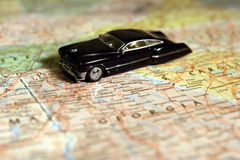 Model Car on Map. A Toy Model Car on a United States Map, good photo for vacation advertisement royalty free stock image