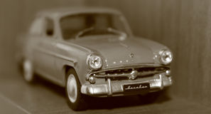 Model car Moskvich. Macrophoto of car model Moskvich stock images