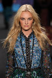 Model Caroline Trentini walks the runway at the Anna Sui fashion show during MBFW Fall 2015 Stock Photo