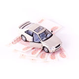 Model cars on five banknotes Royalty Free Stock Photo