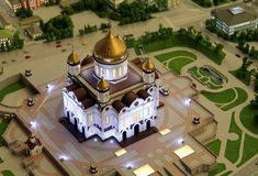 Model of Cathedral of Christ the Saviour, part of giant architectural model of Moscow Royalty Free Stock Image