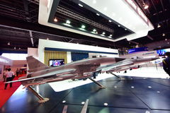 Model of Catic Chengfu FC-20 multi-role fighter aircraft on display at Singapore Airshow Royalty Free Stock Images