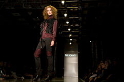 Model on the catwalk at Personage Collection Royalty Free Stock Photography
