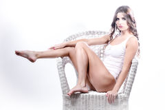 Model on chair Royalty Free Stock Images