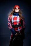 Model in checkered dress Royalty Free Stock Image
