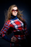 Model in checkered dress Stock Photography